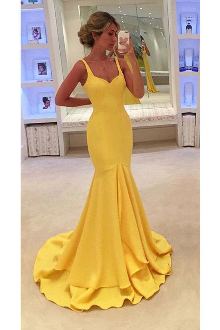 Elegant Prom Dress, 2019 Straps Satin Zipper Up Sweep Train Mermaid Evening Dresses