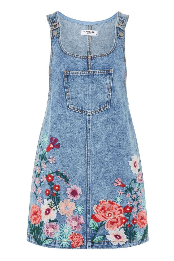 Embroidered Denim Pinafore Dress by Glamorous Petite – #Denim #Dress #Embroidere…