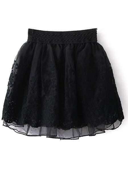 Embroidered Lace Tulle Tutu Skirt For Woman