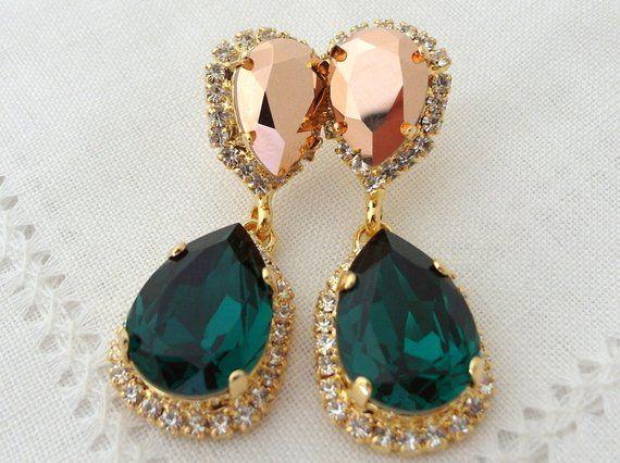 Emerald earrings,Emerald green rose gold crystal Chandelier earrings, Bridal earring,Drop Dangle ear