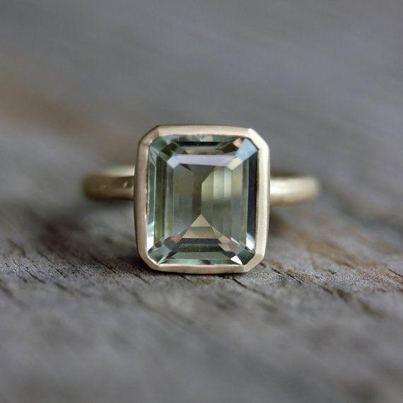 Émeraude vert améthyste, bague Prasiolite bague en or jaune recyclé, octogone Prasiolite pierres précieuses, bijoux améthyste