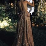 Empire Waist Backless Sequin V Neck Pregnant Prom Dresses Formal Long Evening Dr...