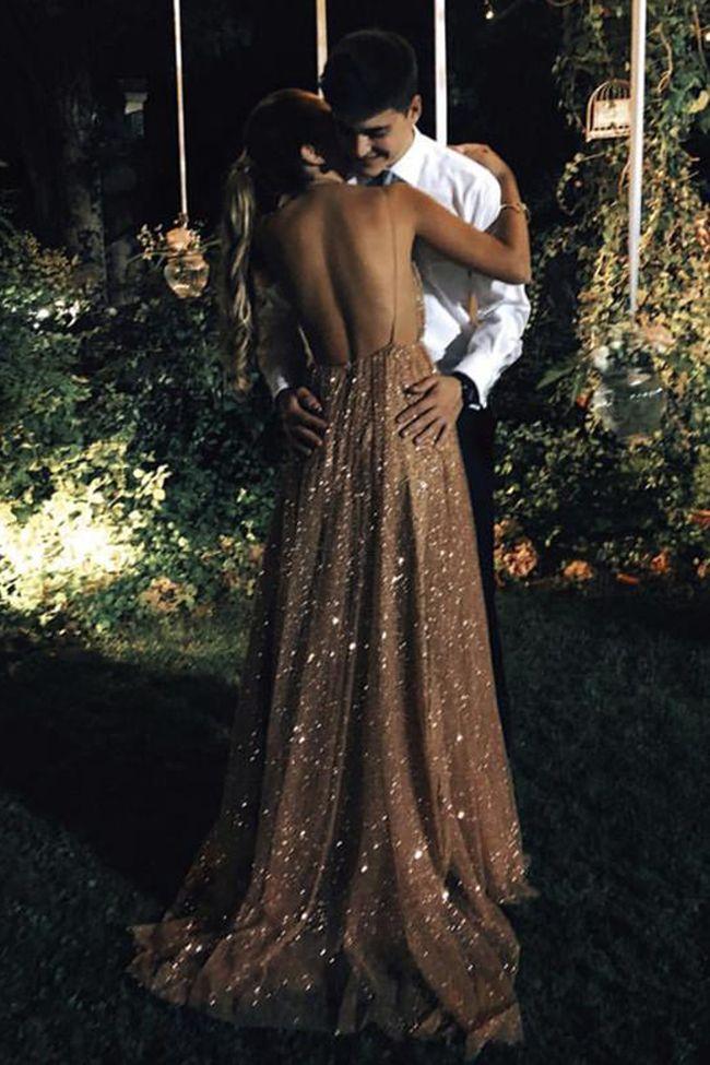 Empire Waist Backless Sequin V Neck Pregnant Prom Dresses Formal Long Evening Dr…