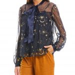 Endless Rose Embroidered Star Sheer Tie Neck Blouse - Navy XL