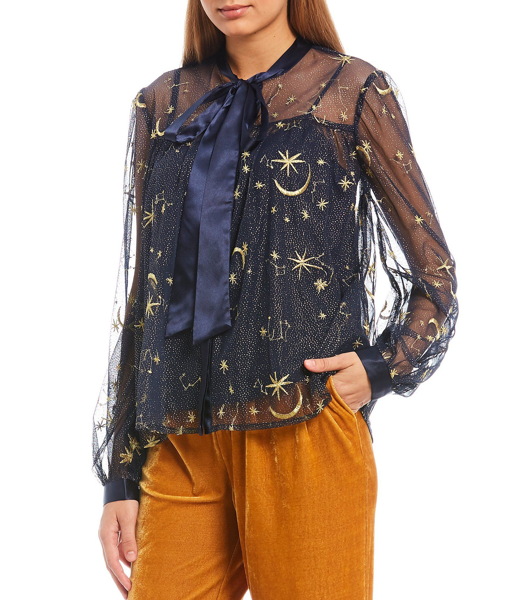 Endless Rose Embroidered Star Sheer Tie Neck Blouse – Navy XL