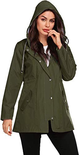 Enjoy exclusive for Avoogue Women Raincoat Waterproof Striped Lined Lightweight Jacket Hood Long Fashion Outdoor Jacket online