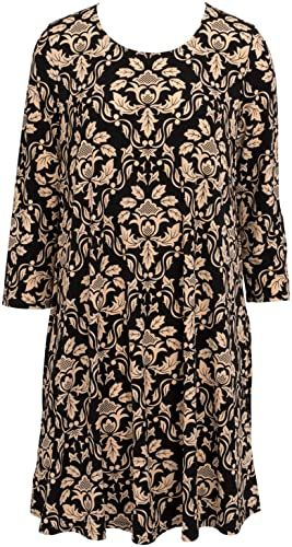 Enjoy exclusive for Mountain Mamas Flowy 3/4 Sleeve Essential Tunic Dress w/Pockets (Black Tan Damask, XS) online