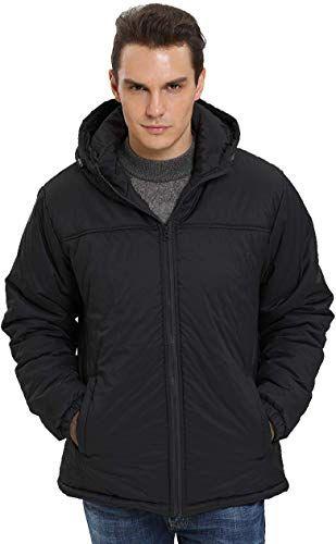 Enjoy exclusive for iloveSIA Mens Parka Jacket Warm Fuzzy Lining Coat Hood Windbreaker Jacket online