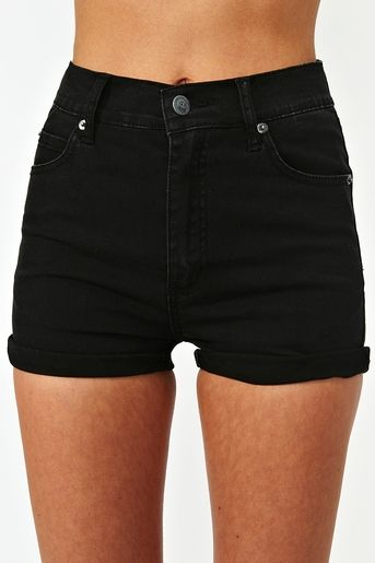 Essential: Basic black high waisted shorts, in the fall with black stockings and…