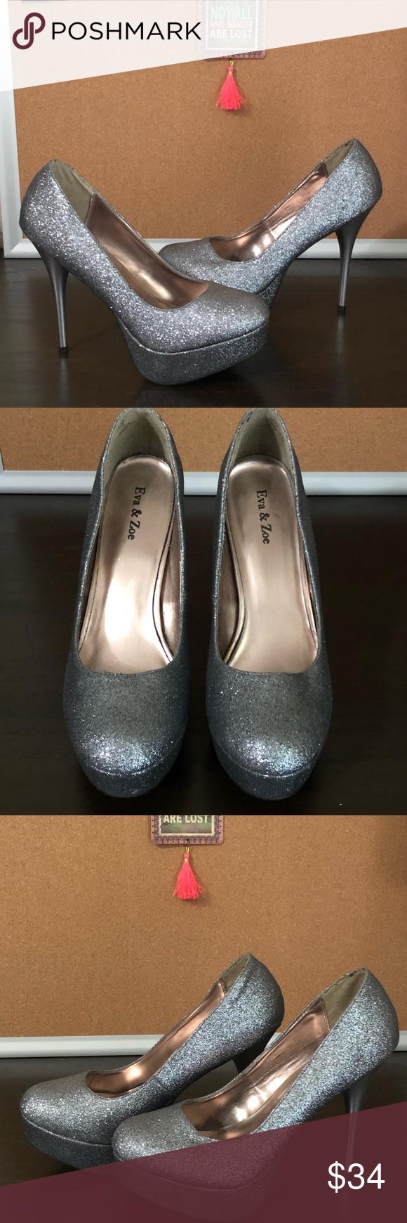 Eva & Zoe Silver Glitter Heels – Size 10