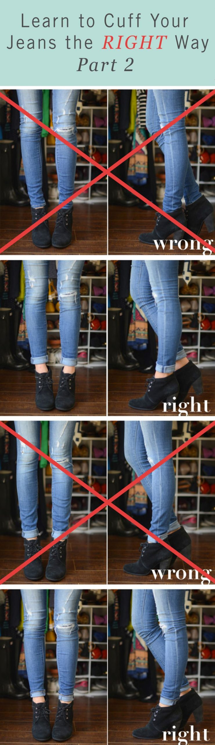 Even skinny jeans can use a proper cuffing. Make your casual fall outfit the bes…