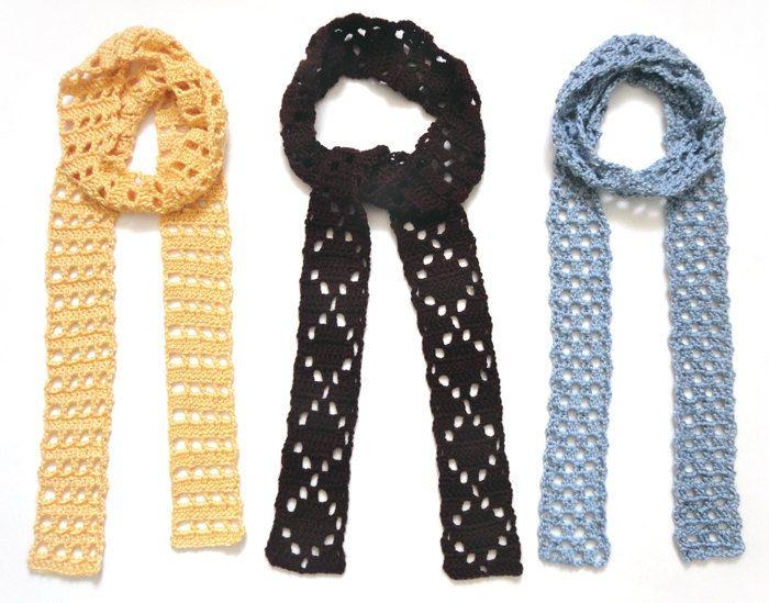 Eyelet Skinny Scarves – PDF Crochet Pattern – Instant Download