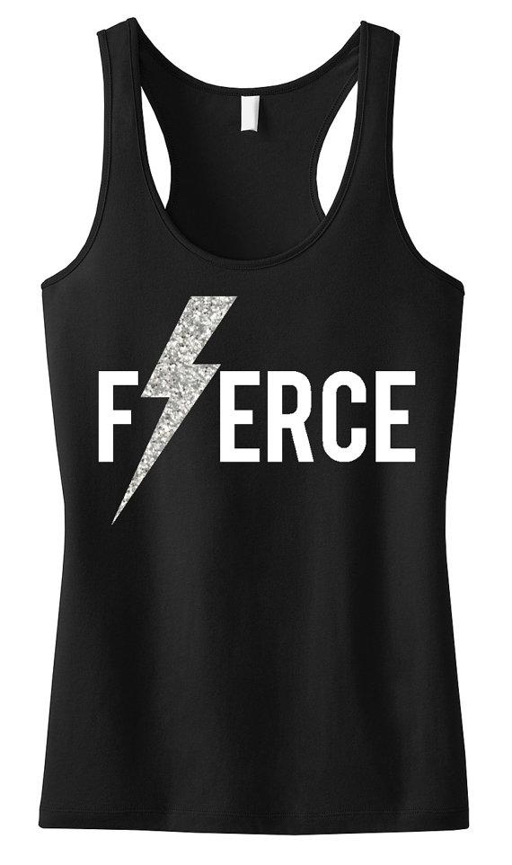 FIERCE Glitter Lightning Workout Tank, Workout Clothing, Workout Tanks, Gym Tank, workout tank top, Workout Shirt, Fitness