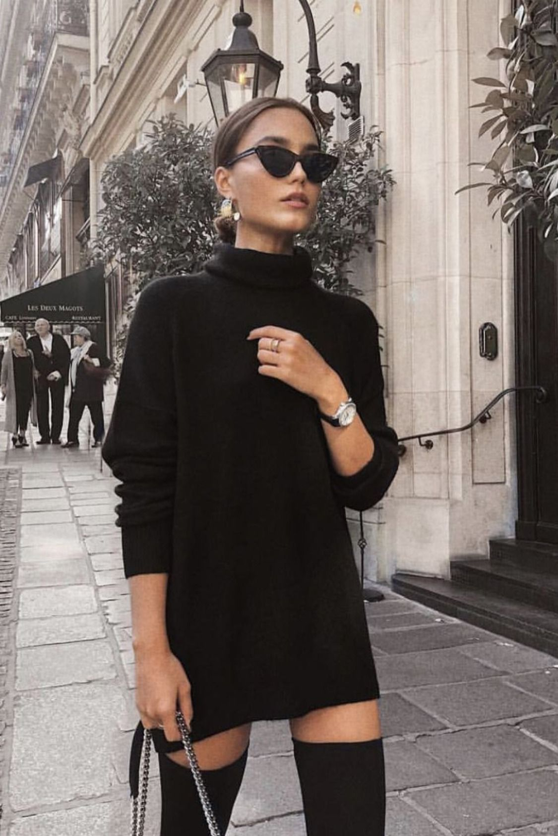 Fall | Winter | Fashion | Black | Sweater Dress | Sunglasses | Over The Knee Boo…