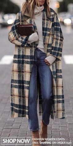 Fashion Fold-over Collar Plaid Coat