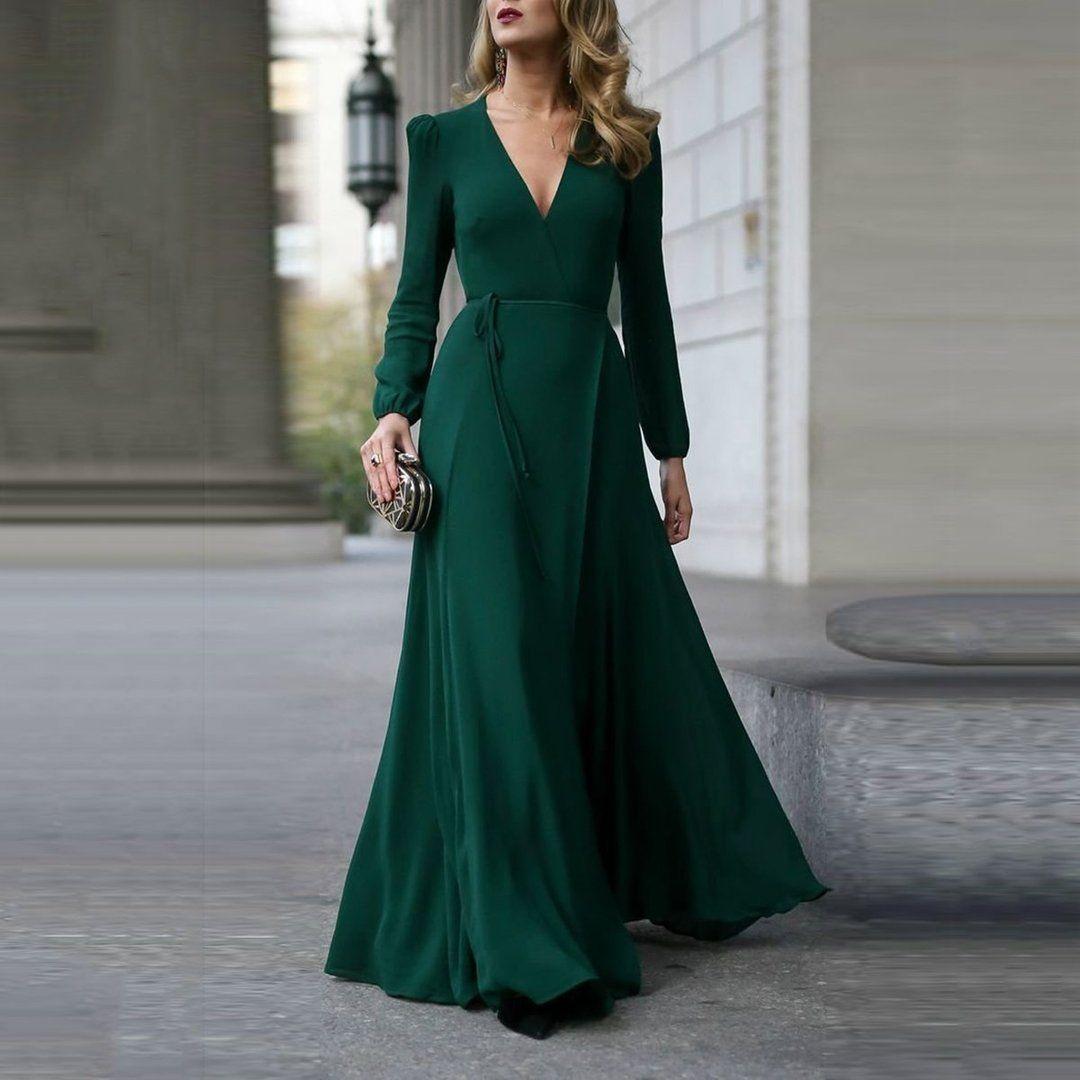 Fashion Green Long Sleeve Maxi Evening Dress