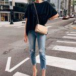 Fashion Jackson Wearing Black Top Mother Boyfriend Jeans Tan Pumps Chanel Beige ...