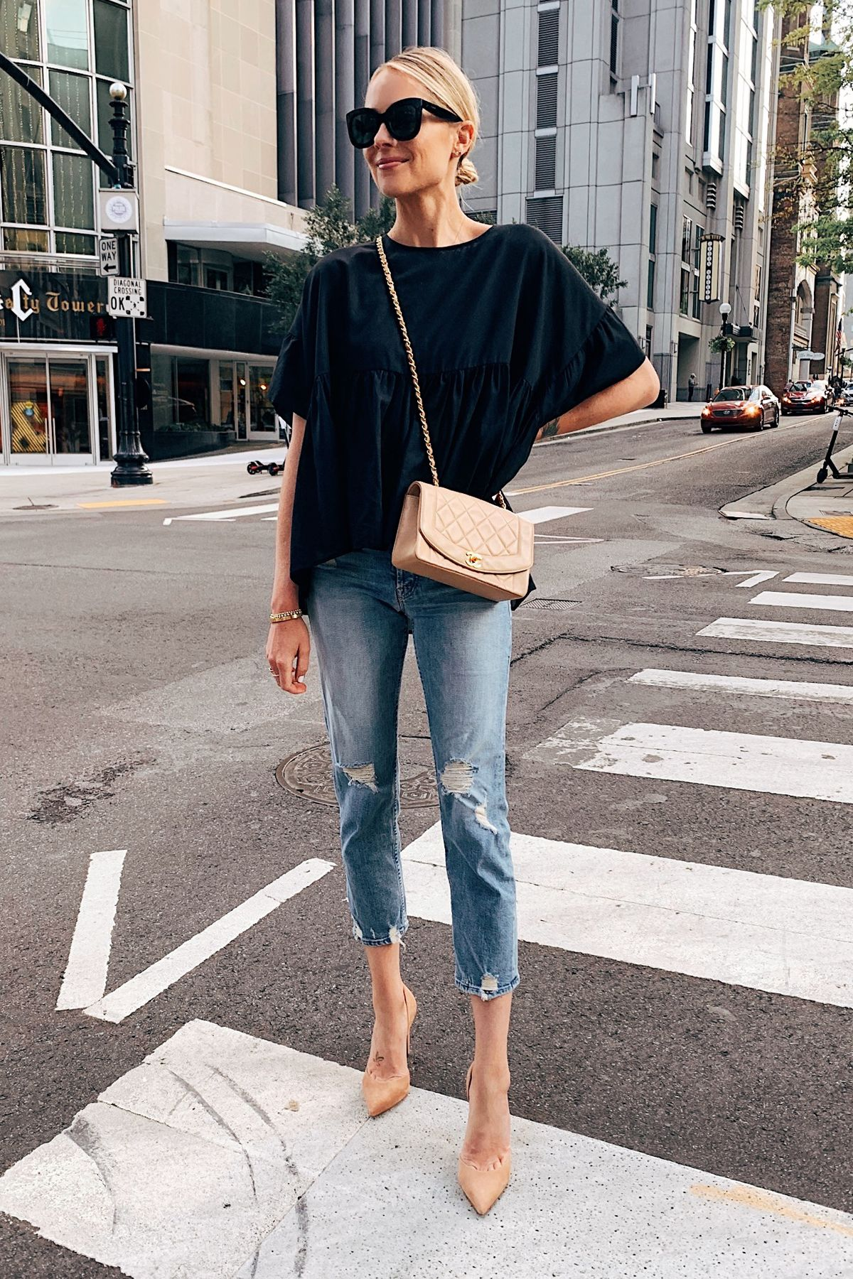 Fashion Jackson Wearing Black Top Mother Boyfriend Jeans Tan Pumps Chanel Beige …