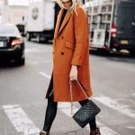 Fashion Jackson Wearing Everlane Dark Camel Wool Coat Faux Leather Leggings Leop...