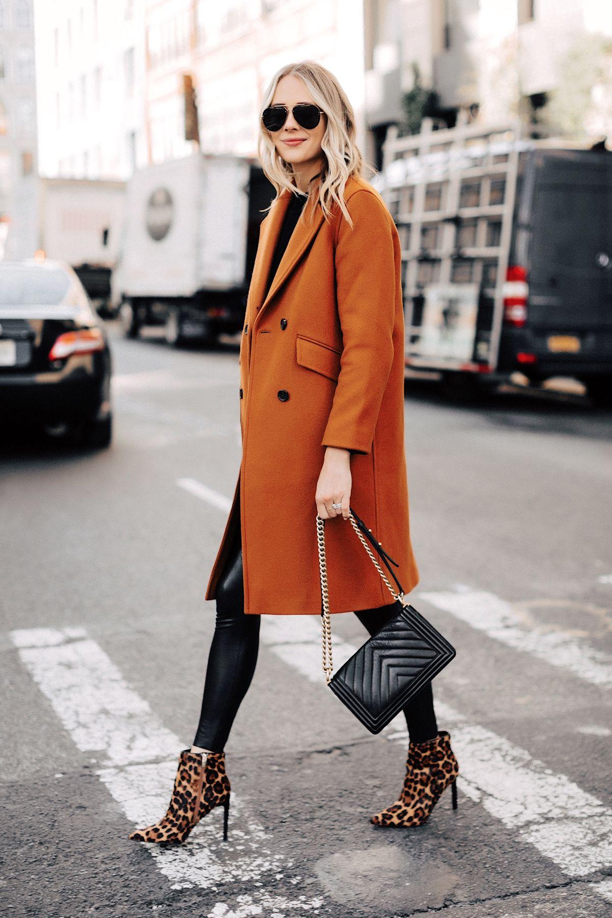 Fashion Jackson Wearing Everlane Dark Camel Wool Coat Faux Leather Leggings Leop…