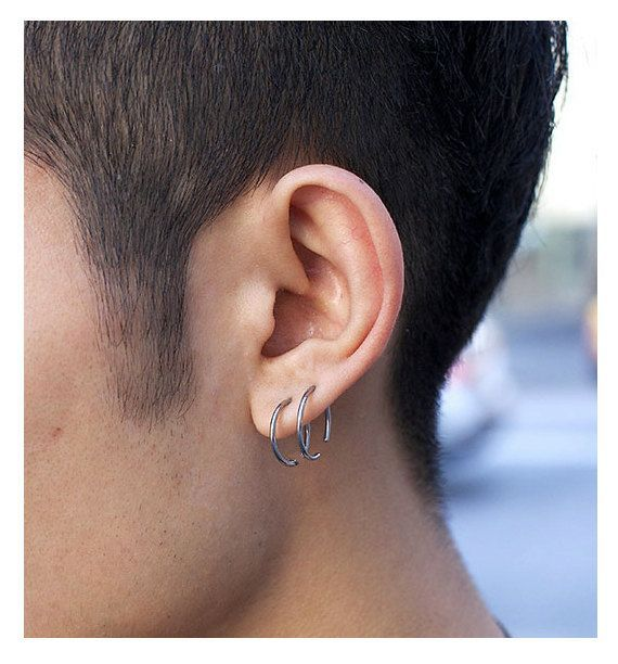 Fashion Mens Earrings. Unisex Hoop Earrings. Black Hoops for men. Mens Jewelry. Delicate Jewelry / Black Earrings / 2 Every Day earrings