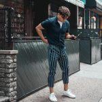 Fashion Mens Joggers Long Sweatpants Striped Ankle Pants Pants Drawstr – mysho...