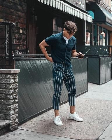 Fashion Mens Joggers Long Sweatpants Striped Ankle Pants Pants Drawstr – mysho…