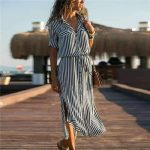 Fashion Stripe Lapel Lacing Maxi Skirt Dresses