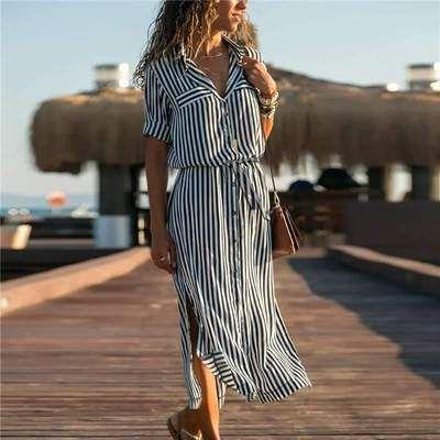 Fashion Stripe Lapel Lacing Maxi Skirt Dresses