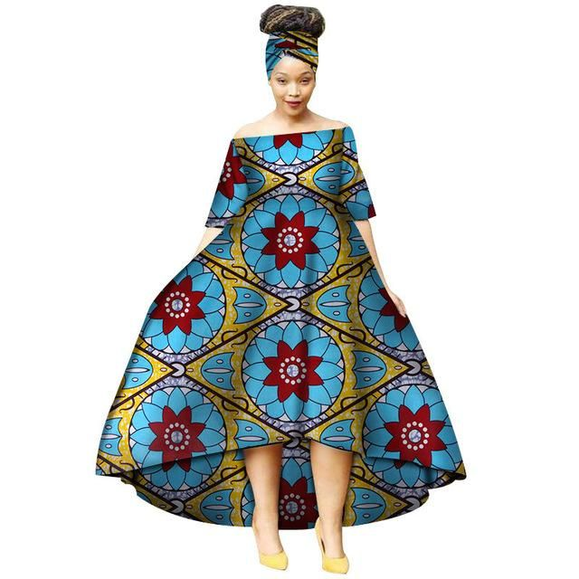 Fashion Summer African Dresses for Women Wax Print Snowflake Pattern Vestidos Lo…