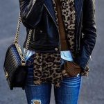 Fashion Trends Accesories - #fall #outfits · Leopard Scarf // Leather Jacket //...