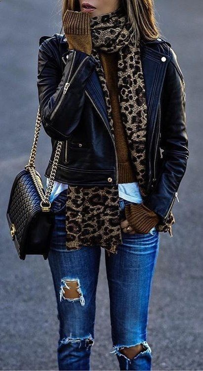 Fashion Trends Accesories – #fall #outfits · Leopard Scarf // Leather Jacket //…