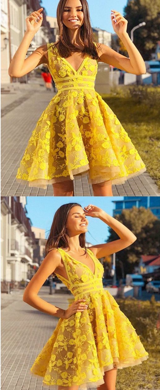 Fashion V neck Yellow Appliques Short Tulle Prom Dress, Homecoming Dress