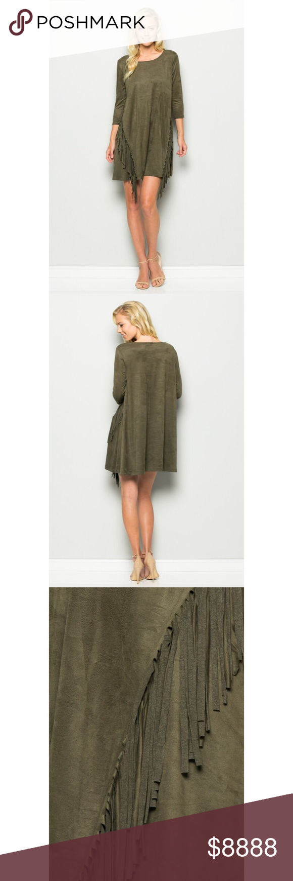 Faux Suede Olive Fringe Dress This beautiful dress should be in your closet for …