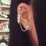 Feather Cartilage Chain Earring Helix Ear Cuff Jewelry Simple Leaf