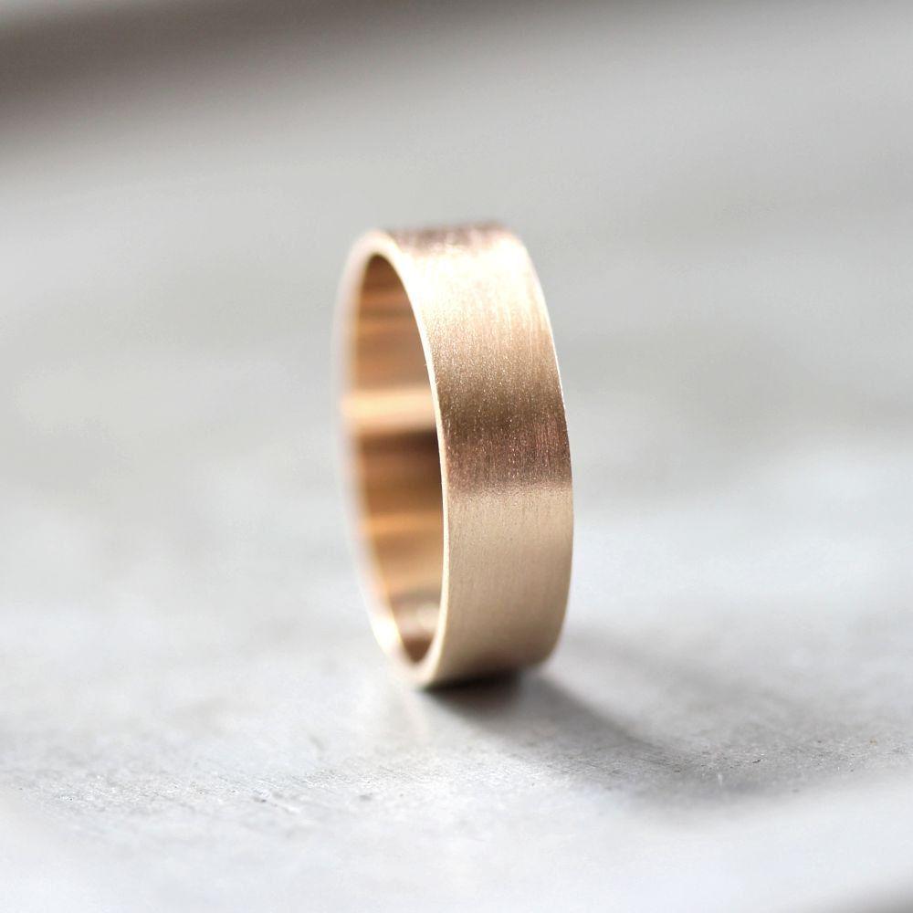 Fede nuziale in oro maschile, 6 mm di larghezza spazzolato 10K piatto riciclato matrimonio anello giallo oro maschile oro anello – fatto nella vostra taglia