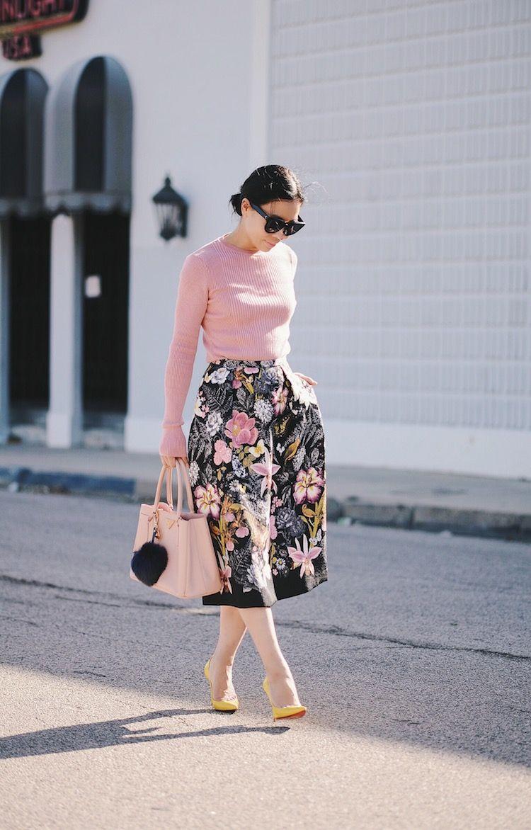 Feminine In Pink Style, Summer Knit Wear, Floral Midi Skirt, Prada Bag, Pom Pom …