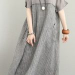 Fine-gray-silk-linen-maxi-dress-plus-size-O-neck-patchwork-traveling-dress