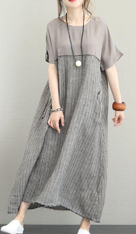 Fine-gray-silk-linen-maxi-dress-plus-size-O-neck-patchwork-traveling-dress