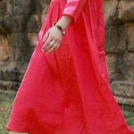 Fine-linen-dress-trendy-plus-size-Folded-Linen-Plain-Red-Dress