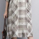 Fine-linen-dresses-plus-size-clothing-Women-Polo-Collar-Short-Sleeve-Plaid-Linen...