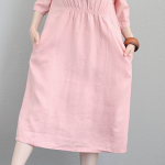 Fine pink linen maxi dress plus size O neck elastic waist linen dress