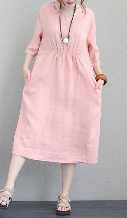 Fine pink linen maxi dress plus size O neck elastic waist linen dress
