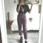 Flannel pants, black graphic tee/crop, chain belt, black boots, #Belt #black #bo...
