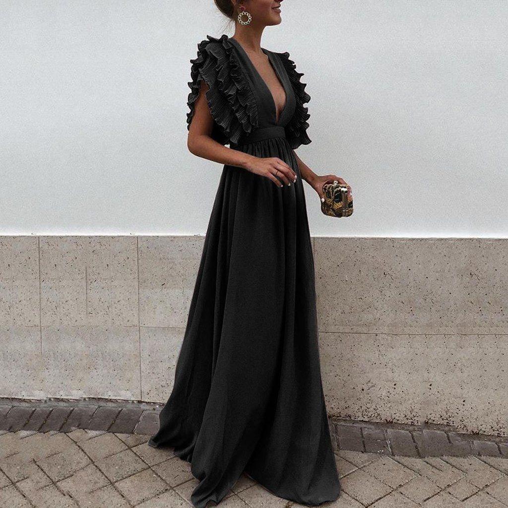 Flash Sale Sexy V Neck Short Sleeves Evening Maxi Dress