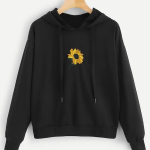 Floral Embroidery Hooded Sweatshirt