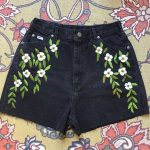 Floral embroidered black denim shorts