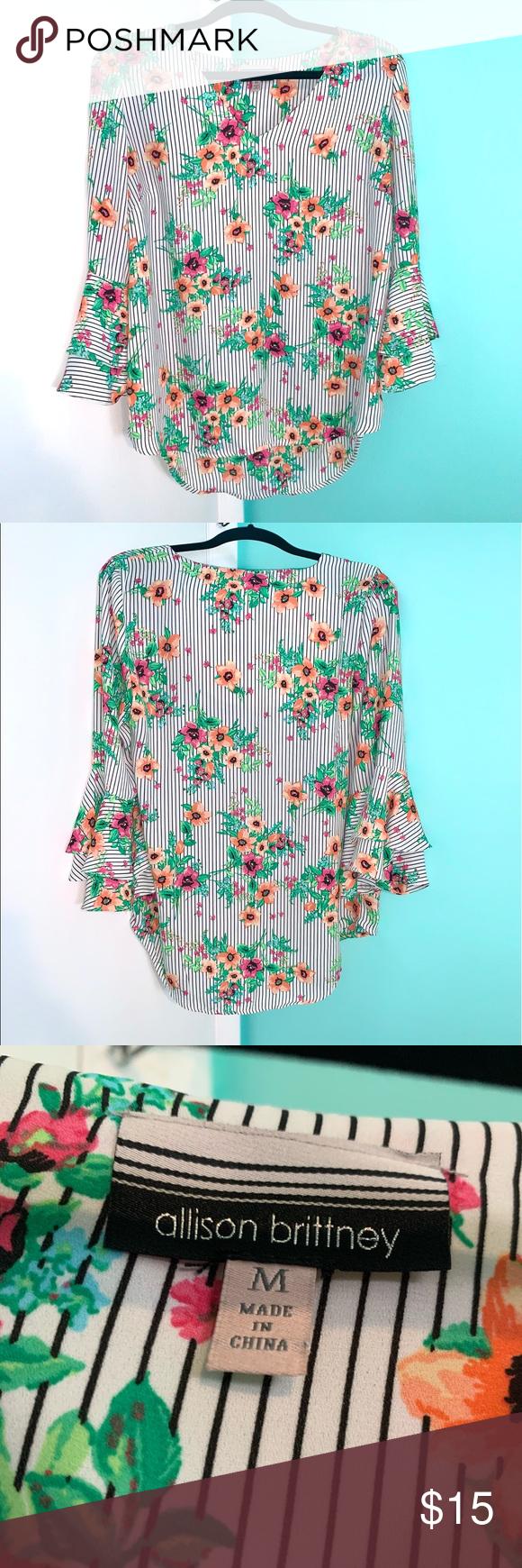 Floral striped blouse Floral striped blouse with ruffled sleeves Allison Brittne…