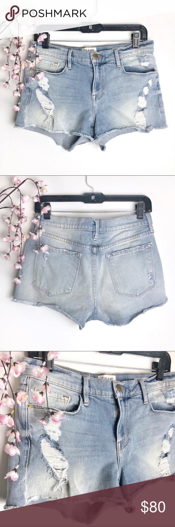 Frame Le Cutoff Distressed Lightwash Denim Shorts Frame Le Cutoff style, distres…