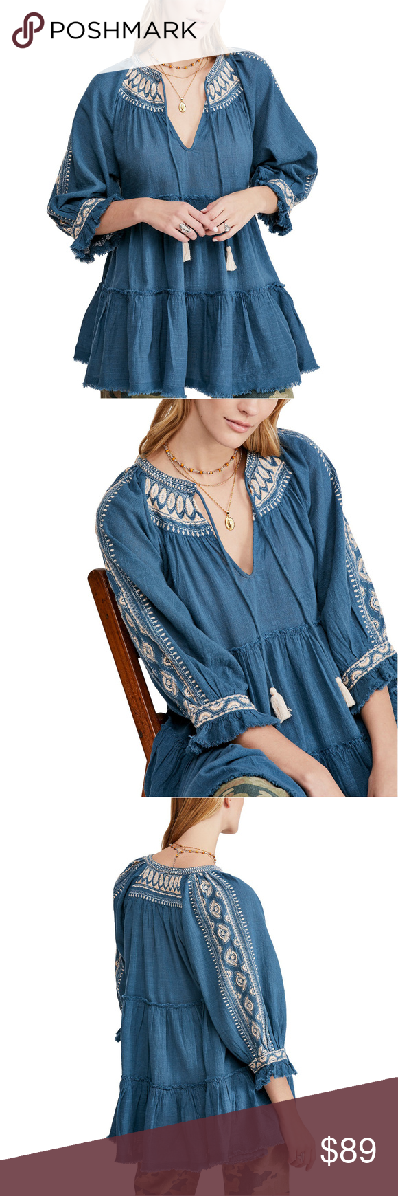 Free People Dreamweaver Embroidered Tunic BLUE L Free People Women's Dreamweaver…